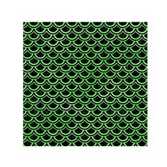 Scales2 Black Marble & Green Watercolor Small Satin Scarf (square)