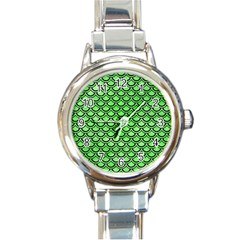 Scales2 Black Marble & Green Watercolor (r) Round Italian Charm Watch