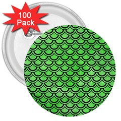 Scales2 Black Marble & Green Watercolor (r) 3  Buttons (100 Pack)
