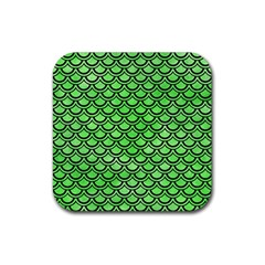 Scales2 Black Marble & Green Watercolor (r) Rubber Square Coaster (4 Pack)