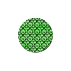 Scales2 Black Marble & Green Watercolor (r) Golf Ball Marker