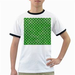 Scales2 Black Marble & Green Watercolor (r) Ringer T Shirts