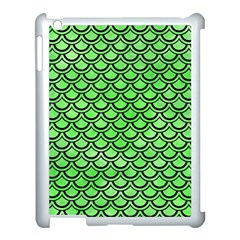 Scales2 Black Marble & Green Watercolor (r) Apple Ipad 3/4 Case (white)