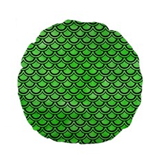 Scales2 Black Marble & Green Watercolor (r) Standard 15  Premium Flano Round Cushions