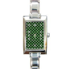Scales3 Black Marble & Green Watercolor Rectangle Italian Charm Watch