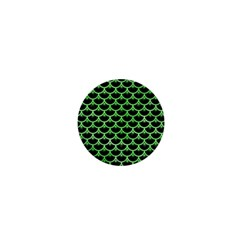 Scales3 Black Marble & Green Watercolor 1  Mini Buttons