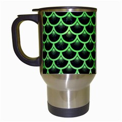 Scales3 Black Marble & Green Watercolor Travel Mugs (white)