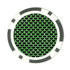 Scales3 Black Marble & Green Watercolor Poker Chip Card Guard (10 Pack)