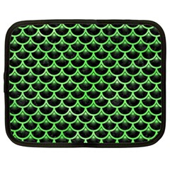 Scales3 Black Marble & Green Watercolor Netbook Case (xxl)