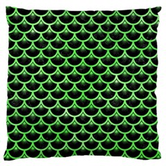 Scales3 Black Marble & Green Watercolor Large Cushion Case (one Side)