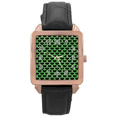 Scales3 Black Marble & Green Watercolor Rose Gold Leather Watch