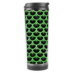 Scales3 Black Marble & Green Watercolor Travel Tumbler