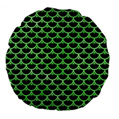 Scales3 Black Marble & Green Watercolor Large 18  Premium Flano Round Cushions