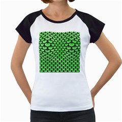 Scales3 Black Marble & Green Watercolor (r) Women s Cap Sleeve T