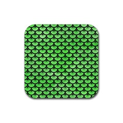 Scales3 Black Marble & Green Watercolor (r) Rubber Square Coaster (4 Pack)