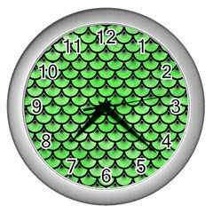 Scales3 Black Marble & Green Watercolor (r) Wall Clocks (silver)