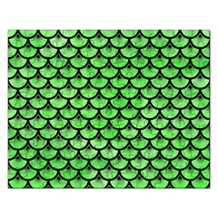 Scales3 Black Marble & Green Watercolor (r) Rectangular Jigsaw Puzzl