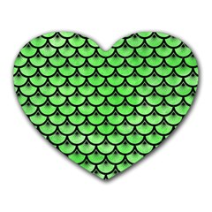 Scales3 Black Marble & Green Watercolor (r) Heart Mousepads