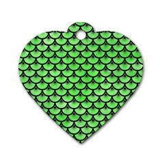 Scales3 Black Marble & Green Watercolor (r) Dog Tag Heart (one Side)