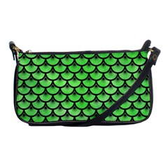 Scales3 Black Marble & Green Watercolor (r) Shoulder Clutch Bags