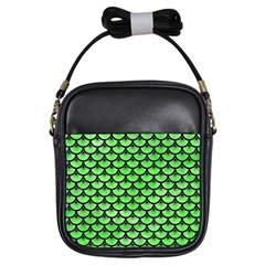 Scales3 Black Marble & Green Watercolor (r) Girls Sling Bags