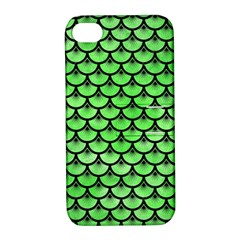 Scales3 Black Marble & Green Watercolor (r) Apple Iphone 4/4s Hardshell Case With Stand
