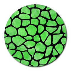 Skin1 Black Marble & Green Watercolor Round Mousepads