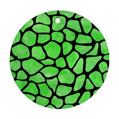 Skin1 Black Marble & Green Watercolor Round Ornament (two Sides)