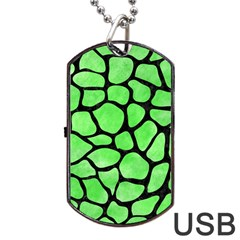 Skin1 Black Marble & Green Watercolor Dog Tag Usb Flash (one Side)