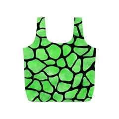 Skin1 Black Marble & Green Watercolor Full Print Recycle Bags (s)