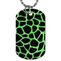 Skin1 Black Marble & Green Watercolor (r) Dog Tag (two Sides)