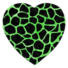 Skin1 Black Marble & Green Watercolor (r) Jigsaw Puzzle (heart)