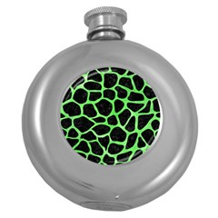 Skin1 Black Marble & Green Watercolor (r) Round Hip Flask (5 Oz)