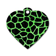 Skin1 Black Marble & Green Watercolor (r) Dog Tag Heart (two Sides)