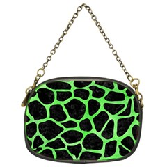 Skin1 Black Marble & Green Watercolor (r) Chain Purses (two Sides)