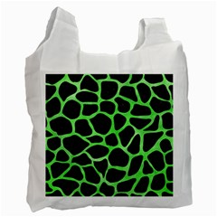 Skin1 Black Marble & Green Watercolor (r) Recycle Bag (one Side)