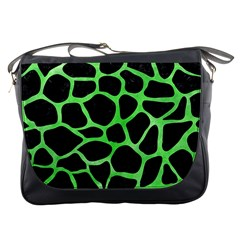 Skin1 Black Marble & Green Watercolor (r) Messenger Bags