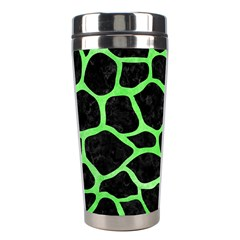 Skin1 Black Marble & Green Watercolor (r) Stainless Steel Travel Tumblers