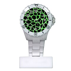 Skin1 Black Marble & Green Watercolor (r) Plastic Nurses Watch