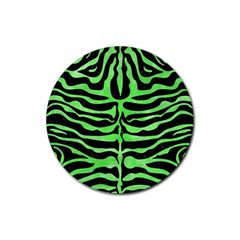 Skin2 Black Marble & Green Watercolor Rubber Round Coaster (4 Pack)