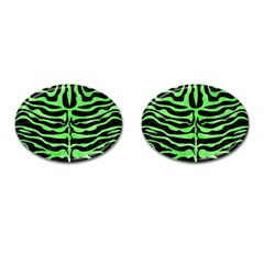 Skin2 Black Marble & Green Watercolor Cufflinks (oval)