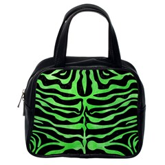 Skin2 Black Marble & Green Watercolor Classic Handbags (one Side)