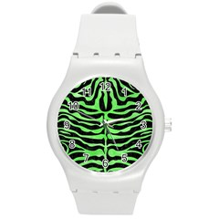 Skin2 Black Marble & Green Watercolor Round Plastic Sport Watch (m)