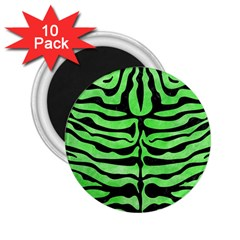 Skin2 Black Marble & Green Watercolor (r) 2 25  Magnets (10 Pack)