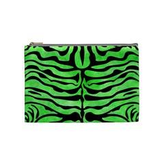 Skin2 Black Marble & Green Watercolor (r) Cosmetic Bag (medium)