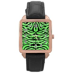 Skin2 Black Marble & Green Watercolor (r) Rose Gold Leather Watch