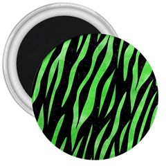 Skin3 Black Marble & Green Watercolor 3  Magnets