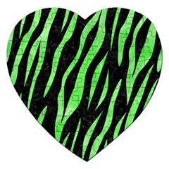 Skin3 Black Marble & Green Watercolor Jigsaw Puzzle (heart)