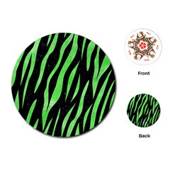 Skin3 Black Marble & Green Watercolor Playing Cards (round)