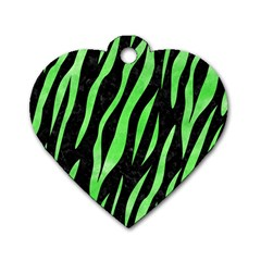 Skin3 Black Marble & Green Watercolor Dog Tag Heart (two Sides)